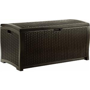 The Suncast Mocha Wicker Resin Deck Storage Box